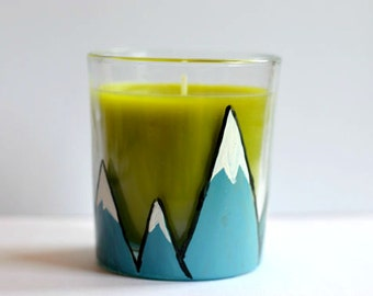 Mountain Candle - Green Apple - Votive - Natural Tea light - Orchard - Small Gift - Wedding Table Decor - Travel - Blue - Nature - Explore