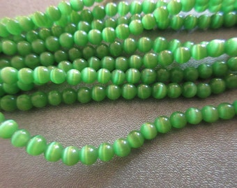 Green Cat's Eye Round 4mm Beads 100pcs