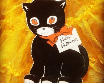Halloween Inky Black flocked cat card (1950's)
