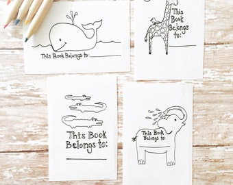 Kids Coloring Animal Bookplates, Set of 12 or 24