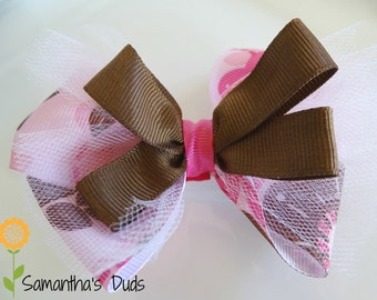 Pink and Brown Flower Bow