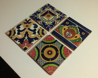 Hand-Painted Mexican Style Drink Coasters (Set of 4)