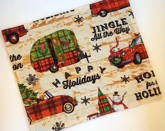 SALE Cloth Napkins, Set of 4 - Holiday Travels Christmas Camping Napkins - Double-sided, Dinner napkins, Cotton, Reusable - by Sew4MyLoves