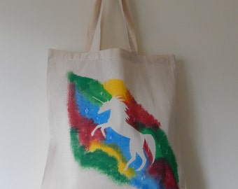 Hand painted Primary Unicorn tote bag