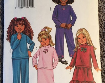 Butterick Fast and Easy sewing pattern 3674 girls size 6,7,8, top, skirt and pants
