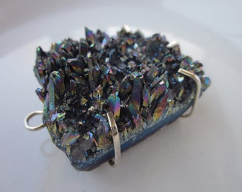 Chunky Titanium Druzy and Sterling Silver Pendant, 50mm x 40mm x 20mm