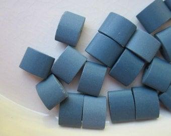 26 Vintage Porcelain Beads, Cadet Blue, 10mm x 7mm Rounded Rectangle