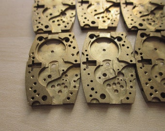 25 Vintage 1940s Elgin Watch Co. Watch Parts 25mm x 15mm, Raw Brass