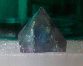 Rainbow Fluorite Purple Green Crystal Standing Pyramid