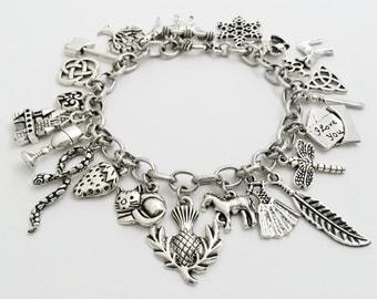 The Outlander Charm Bracelet, Scottish Thistle Bracelet