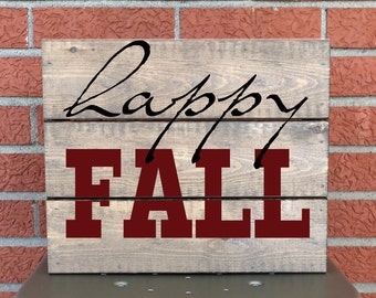 Happy Fall Sign - Whitewashed Wooden Sign - Personalized Gift -  Thanksgiving Home Decor