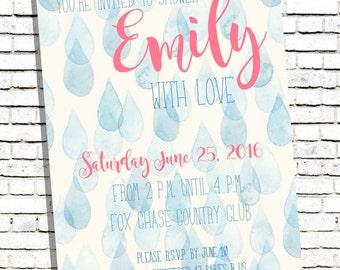 Watercolor Raindrops Baby Bridal Shower Invitation Invite