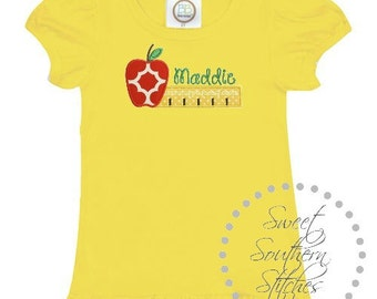 Ruler Back To School Girls Tee  EMBROIDERED