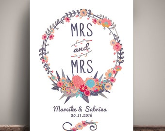 Mrs & Mrs - art print, mural, wedding day, personalized DIN A4 watercolour, lesbian wedding lesbian wedding