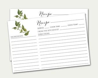 Basil Recipe Card, 4x6 Recipe Card, Herb Recipe Card, Recipe Card, Simple Recipe Card, Printable Recipe Card, Herbs Recipe Card, DIY Recipe