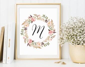 CUSTOM Initial Print, Floral Monogram, Customized Monogram, Calligraphy Monogram, Calligraphy Initial, Baby Name Print, Girl's Monogram