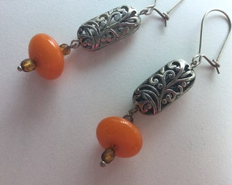 Tibetan bead earrings.