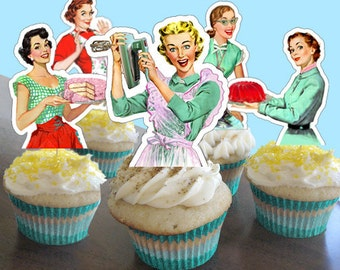 PDF Printable, Retro Bridal shower, Cupcake Toppers, Housewife