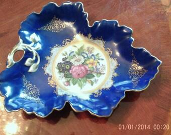 antique cobalt blue hand painted serving dish