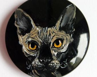 Button Sphynx Cat Portrait hand-painted