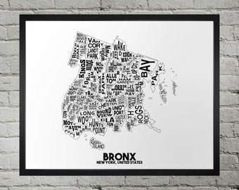 Bronx New York Neighborhood Typography City Map Print