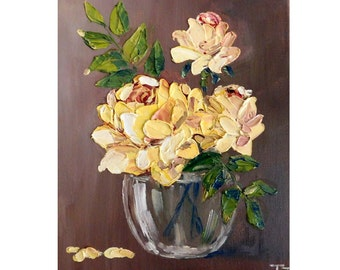 Yellow Roses  in a Glass Bowl Original oil impasto painting No.04-28 ready to hang