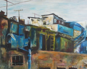 Urban painting, oil on canvas, original art, office or home decor, wall art by Rina Cohen