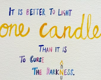 Hope print, 'one candle'.