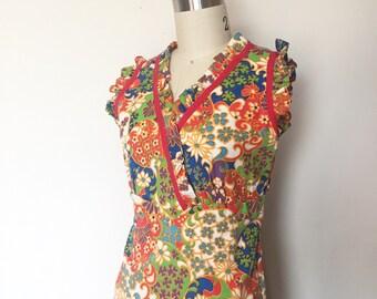 Incredible 1960's Handmade Cotton Maxi Dress