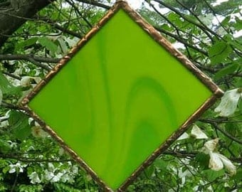 Lime Green Stained Glass Mobile for Home and Garden