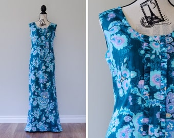 Vintage 1960s Floral Cotton Maxi Dress - Size S