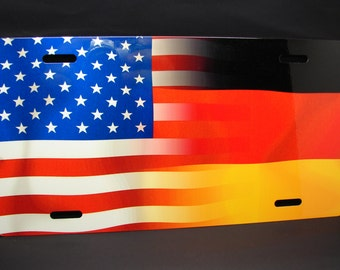 GERMAN AMERICAN FLAG Metal license plate for cars and trucks