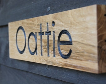 Medium Custom Engraved Oak Sign Single Sided House / Gate / Door / Garage/ Shed / Boat Perfect House-warming Gift Present