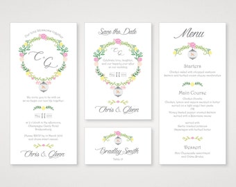 Printable Wedding Invitation Set - Perfect for a Spring Wedding