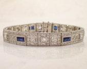 Art Deco Platinum Over Gold Diamond and Sapphire Bracelet, Filigree Jewelry, Estate Jewelry, Vintage Bracelet, Vintage Jewelry