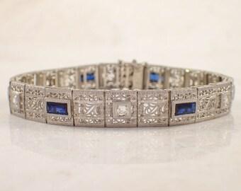 Art Deco Platinum Over Gold Diamond and Sapphire Bracelet