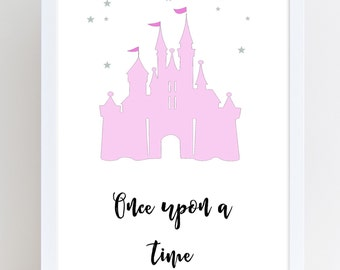 Typography print • once upon a time • princess castle • colours are changeable • 2 designs