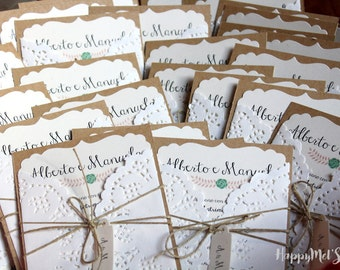 "60 wedding invitations ""rustic"""