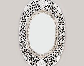 Oval Handcut Glass Mirror Silver