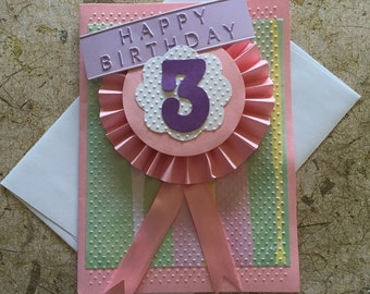 Handmade rosette number birthday card