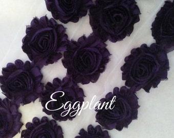 """New Solid Eggplant 2.5"""" Shabby Flower Rose Trim U Pick By the Yard DIY"""