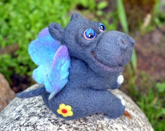 needle felted hippo-moth