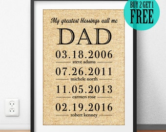 Father's Day Gift, Father Gift, Grandfather Gift, Dad Print, My Greatest Blessings Call Me Dad, Personalized Gift, Burlap Home Decor, CM02