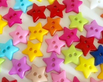 50 Star Buttons ~  Small Star Buttons ~ Plastic Buttons ~ Star Embellishments ~ Card Making ~ Scrapbooking ~ Sewing