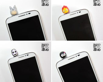 4x inspired studio ghibli stopper | anti dust smartphone fimo | jack 3.5mm|dust proof plug|fimo charms cellphones|dust stopper studio ghibli
