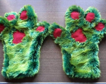Fur green/yellow for child gloves