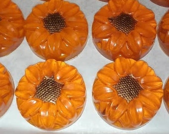 20, 2-color Sunflower Soap Favors-Ultra Clear Soap Base
