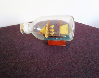Ship Sailing Replica Wood Schooneer Mast Art Cutter Vintage Nautical Sculpture Miniature Model Glass Bottle Cork Rope Fathers Day