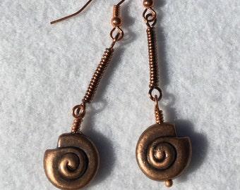 Copper Shell Earrings