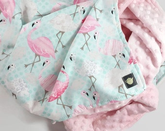 Flamingo Baby Blanket, Minky Baby Blanket, Modern Baby Blanket, Pink, Aqua, Baby Blanket Girl, Baby Shower Gift, Stroller Blanket, Crib